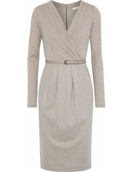 Narsete Wrap Effect Belted Stretch Wool Dress by Max Mara