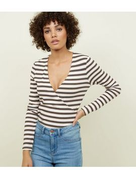 Camel Stripe Ribbed Wrap Long Sleeve T Shirt by New Look