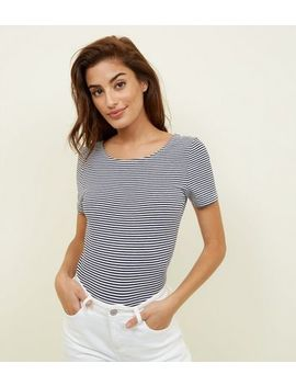 White Stripe Scoop Neck T Shirt by New Look