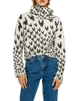 Dogtooth Chunky Roll Neck Sweater by Topshop