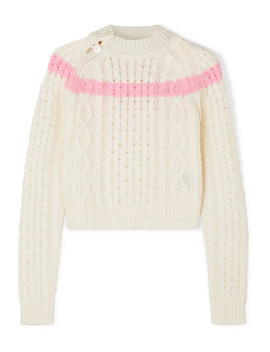 Jessica Striped Cable Knit Sweater by Preen Line