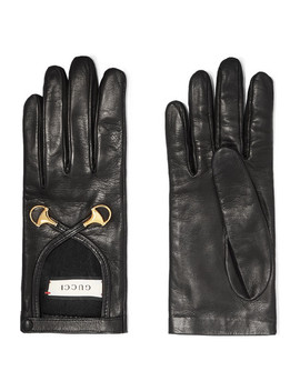 Horsebit Detailed Leather Gloves by Gucci