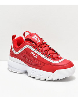 Fila Disruptor Ii Logo Taping Red Shoes by Fila