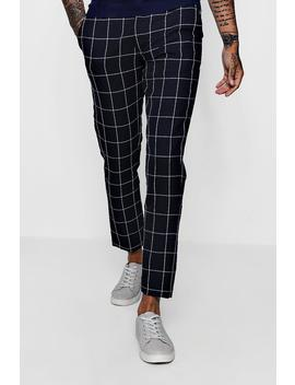 Tapered Fit Trouser In Navy Windowpane Check by Boohoo