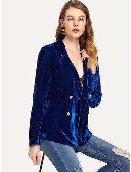 Solid Double Breasted Velvet Blazer by Sheinside