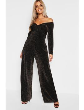 Plus Glitter Knot Front Bardot Jumpsuit by Boohoo