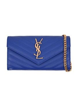 Chain Wallet Monogram Envelope Small Blue Leather Shoulder Bag by Saint Laurent