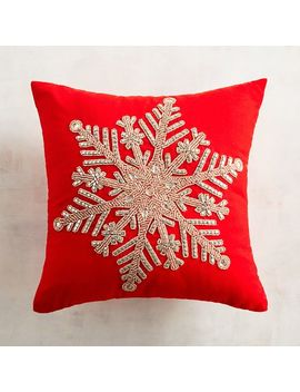 Beaded Golden Snowflake Mini Pillow by Pier1 Imports