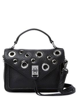 New Mini Darren Grommets Fringe Messenger Black Pebbled Leather Cross Body Bag by Rebecca Minkoff