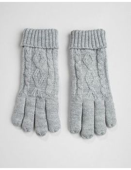 Stitch & Pieces Grey Cable Knit Gloves by Stitch & Pieces