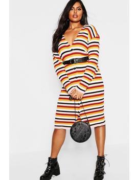 Plus Stripe Knitted Midi Dress by Boohoo