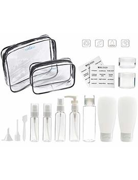 Magigo Toiletries Leak Proof Travel Bottle Set (15 Pack),Tsa Approved Airline Carry On With 2 Clear Bags For Man For Women by Magigo