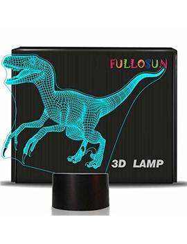 Fullosun Dinosaur 3 D Night Light Jurassic Velociraptor Projection Led Lamp Baby Nursery Nightlight Kids' Room Home Décor Xmas Birthday Gifts 7 Color Changing by Fullosun