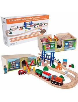Orbrium Toys 52 Pcs Deluxe Wooden Train Set With 3 Destinations Fits Thomas, Brio, Chuggington, Melissa And Doug, Imaginarium Wooden Train by Orbrium