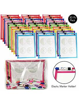 Britetrack 30 Reusable Dry Erase Pockets With Elastic Marker Holder, Fits All Marker Sizes, Oversized 10 X 13 Inches, Bonus Storage Bag, Neon Colors by Brite Tools