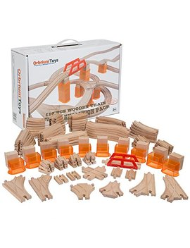 Orbrium Toys Multi Level 110 Piece Wooden Train Bulk Track Expansion Pack With Stackable Track Riser Stabilizers Compatible With Thomas The Tank Engine Brio Chuggington Melissa & Doug Imaginarium Set by Orbrium