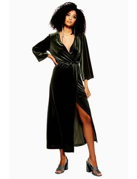 **Velvet Wrap Maxi Dress By Yas by Topshop