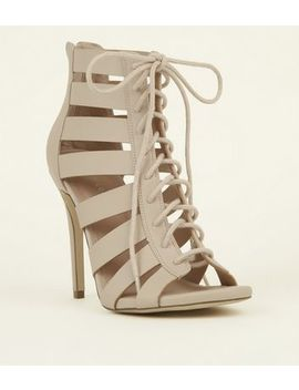 Cream Lace Up Gladiator Stiletto Heel Sandals by New Look