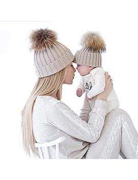 Oenbopo 2 Pcs Parent Child Hat Warmer, Mother & Baby Daughter/Son Winter Warm Knit Hat Family Crochet Beanie Ski Cap by Oenbopo