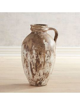 Antiqued Ivory Floor Vase by Pier1 Imports