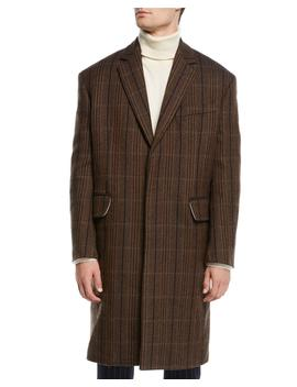 Men's Striped Vintage Wool Topcoat by Calvin Klein 205 W39 Nyc