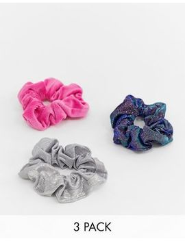Asos Design Pack Of 3 Scrunchies In Mixed Fabrics by Asos Design