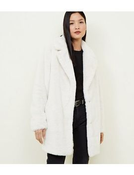 White Faux Fur Longline Coat by New Look