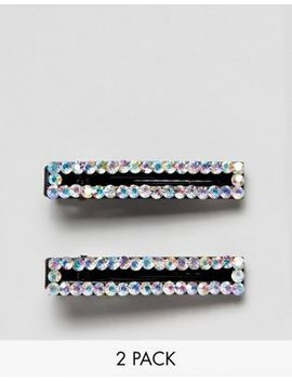 Asos Design Pack Of 2 Hair Clips In Open Shape Design With Clear Crystals by Asos Design