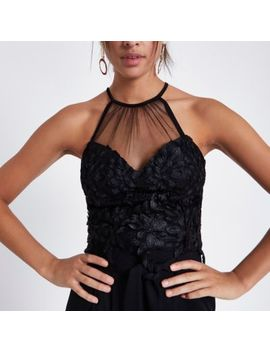Black Leaf Lace Mesh Insert Bralette by River Island