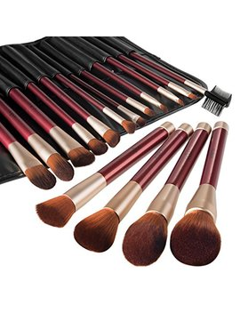 Makeup Brush Set Anjou 16pcs Professional Cosmetic Brushes With Soft And Cruelty Free Synthetic Fiber Bristles   Elegant Pu Leather Pouch Included by Anjou