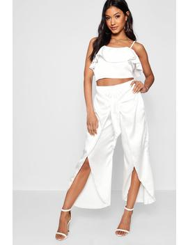 Satin Ruffle Top Trouser Co Ord Set by Boohoo