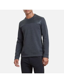 Long Sleeve Pleather Sweatshirt by Kenneth Cole New York