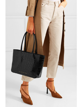 Glossed Croc Effect Leather Tote by Chylak