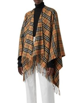 Vintage Check Collette Poncho by Burberry