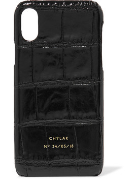 Glossed Croc Effect Leather I Phone X Case by Chylak
