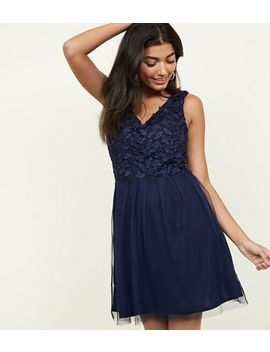 Mela Navy Lace And Mesh Skater Dress by New Look