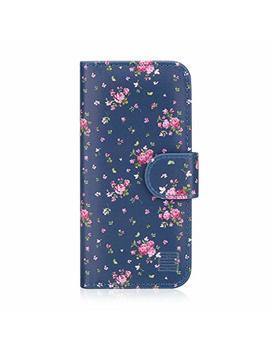 32nd Floral Series   Design Pu Leather Book Wallet Case Cover For Apple I Phone 5, 5 S & Se, Designer Flower Pattern Wallet Style Flip Case With Card Slots   Vintage Rose Indigo by 32nd