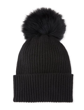 Ribbed Beanie With Fox Fur Pompom by Sofia Cashmere