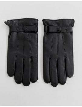 Peter Werth Leather Gloves With Popper In Black by Peter Werth