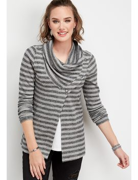 Asymmetrical Snap Neck Stripe Cardigan by Maurices