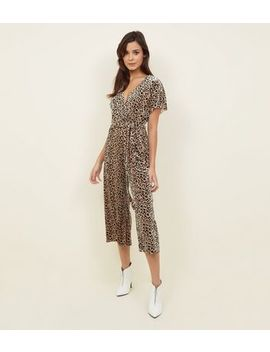 Brown Leopard Print Velvet Wrap Front Jumpsuit by New Look