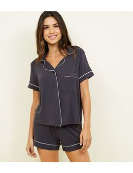 Dark Grey Revere Collar Pyjama Set by New Look