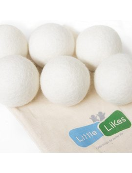 Little Likes Dryer Balls, Pack Of 6 Dryer Balls, 100 Percents Organic, Reusable, Reduce Wrinkles, Saves Drying Time & Chemical Free, Handmade Dryer Balls by Little Likes