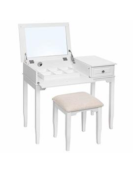 Songmics Modern Dressing Table With Large Flip Top Mirror, Vanity Set With Solid Wood Legs, Removable Compartment, Stool And 1 Drawer, For Bedroom, Dressing Room, Gift For Loved One, White Rdt103 Wt by Songmics