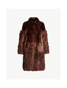 Cosma Reversible Contrast Panel Shearling Coat by Whistles