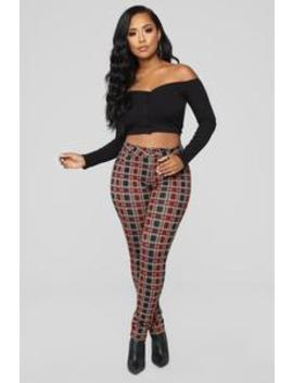 Leaving You On Read Ponte Pants   Red Multi by Fashion Nova