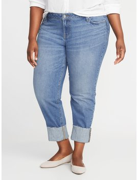 Mid Rise Boyfriend Straight Distressed Plus Size Jeans by Old Navy