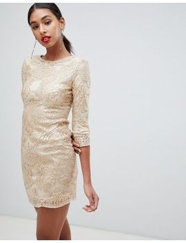 Tfnc Baroque Patterned Sequin Mini Dress In Gold by Tfnc
