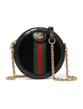 Ophidia Mini Patent Leather Trimmed Suede Shoulder Bag by Gucci