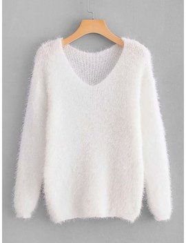 V Neck Solid Fuzzy Sweater by Sheinside